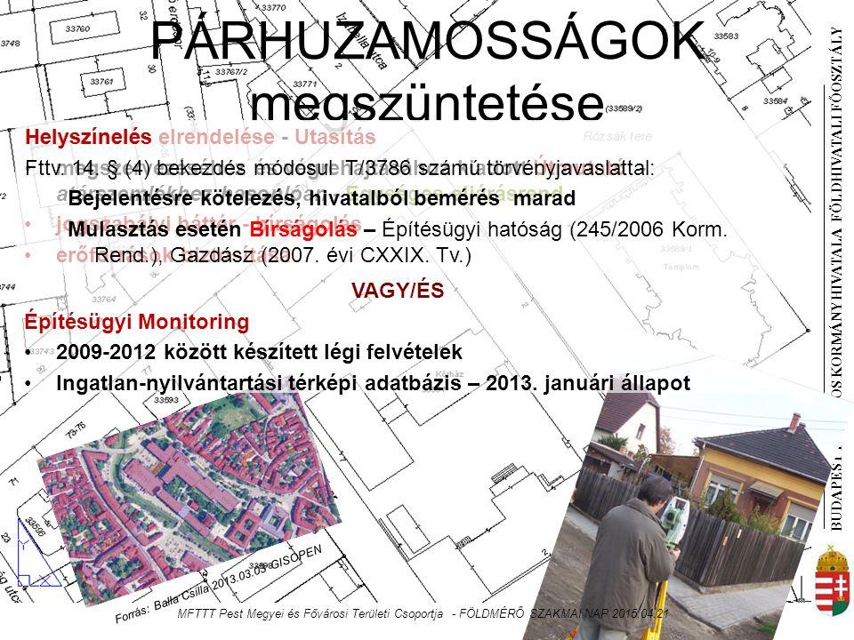 BUDAPEST FŐVÁROS KORMÁNYHIVATALA FÖLDHIVATAL I FŐOSZTÁLY PÁRHUZAMOSSÁGOK megszüntetése VAGY/ÉS Építésügyi Monitoring 2009-2012 között készített légi felvételek Ingatlan-nyilvántartási térképi adatbázis – 2013.