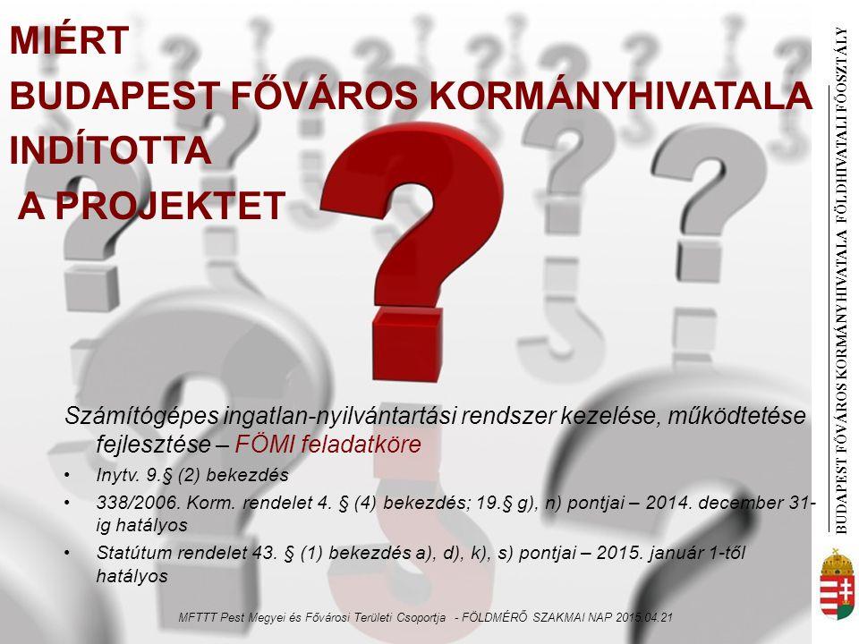 BUDAPEST FŐVÁROS KORMÁNYHIVATALA FÖLDHIVATAL I FŐOSZTÁLY DIGITÁLIS TÉRKÉPI ADATBÁZIS Budapest Ország többi része Finanszírozás – minisztériumi döntés Svájci segélyprogram, EU Phare projekt EU Phare projekt/ Szoftver BIIR – Infocam, Topobase TAKAROS – Kékes, DatView, DATR Birtokhatárpont állomány Szabatos városmérés, új felmérés - Csak az eredeti területszámításba bevont pontok Szabatos városmérés, új felmérés, digitalizálás Területszámításba alacsonyabb rendű pontok is Adatmodell 21/1995 FVM rendelet, DAT DAT (1997.január 1.) Digitális állományok létrehozása Földhivatal (I., V., VI., VII., VIII., XIII., XIV., XIX.) NKP keretében (II., III., IV., IX., X., XI., XII, XV., XVI., XVII., XVIII., XX., XXI., XXII., XXIII.