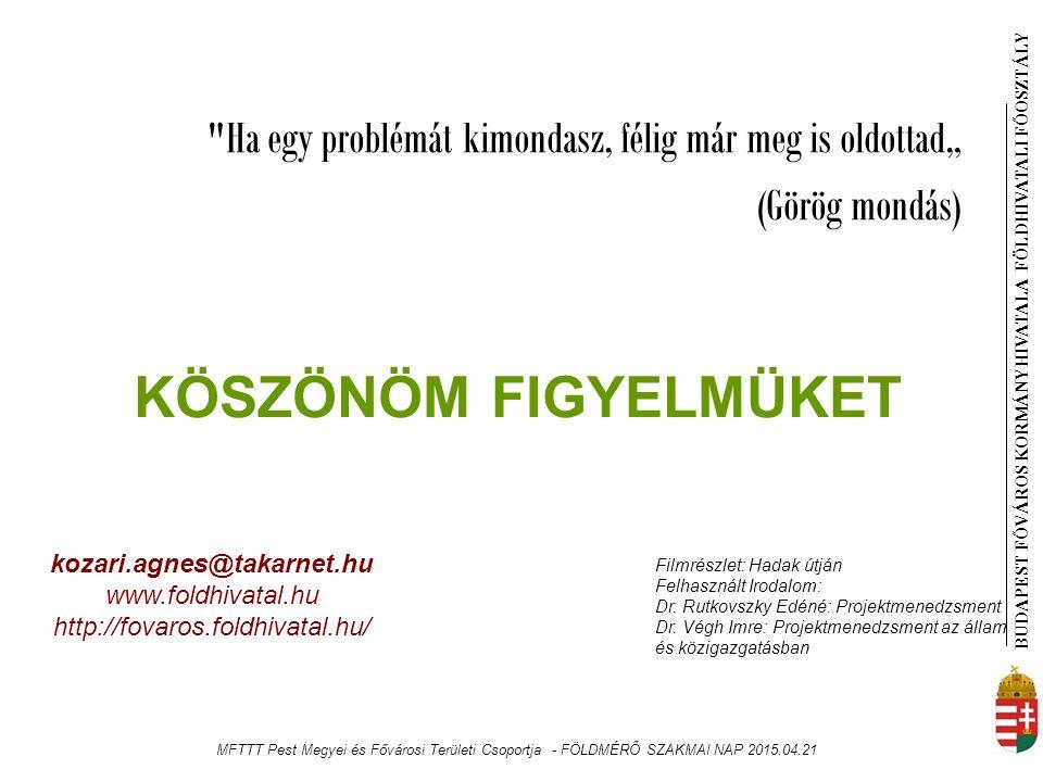 """BUDAPEST FŐVÁROS KORMÁNYHIVATALA FÖLDHIVATAL I FŐOSZTÁLY Ha egy problémát kimondasz, félig már meg is oldottad"""" (Görög mondás) kozari.agnes@takarnet.hu www.foldhivatal.hu http://fovaros.foldhivatal.hu/ KÖSZÖNÖM FIGYELMÜKET Filmrészlet: Hadak útján Felhasznált Irodalom: Dr."""