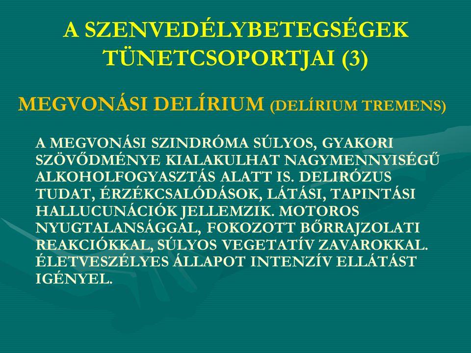 A SZENVEDÉLYBETEGSÉGEK TÜNETCSOPORTJAI (3) MEGVONÁSI DELÍRIUM (DELÍRIUM TREMENS) A MEGVONÁSI SZINDRÓMA SÚLYOS, GYAKORI SZÖVŐDMÉNYE KIALAKULHAT NAGYMENNYISÉGŰ ALKOHOLFOGYASZTÁS ALATT IS.