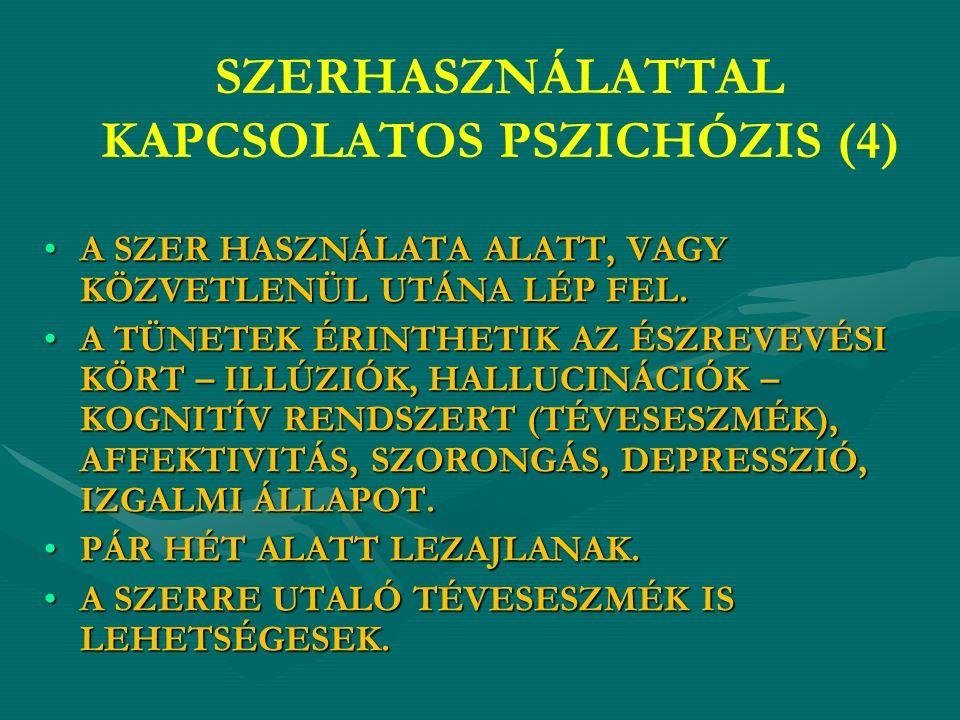 SZERHASZNÁLATTAL KAPCSOLATOS PSZICHÓZIS (4) A SZER HASZNÁLATA ALATT, VAGY KÖZVETLENÜL UTÁNA LÉP FEL.A SZER HASZNÁLATA ALATT, VAGY KÖZVETLENÜL UTÁNA LÉP FEL.