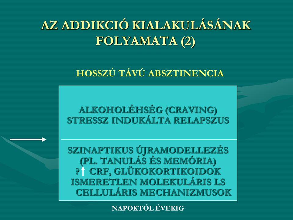 AZ ADDIKCIÓ KIALAKULÁSÁNAK FOLYAMATA (2) ALKOHOLÉHSÉG (CRAVING) STRESSZ INDUKÁLTA RELAPSZUS SZINAPTIKUS ÚJRAMODELLEZÉS (PL. TANULÁS ÉS MEMÓRIA) ? CRF,