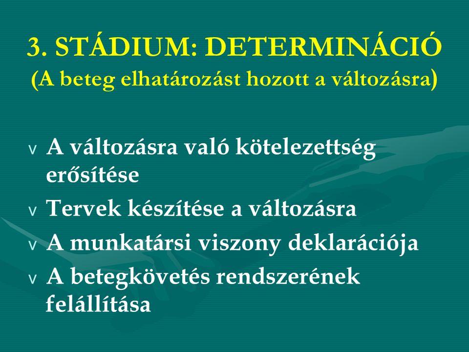 3. STÁDIUM: DETERMINÁCIÓ (A beteg elhatározást hozott a változásra ) v A változásra való kötelezettség erősítése v Tervek készítése a változásra v A m