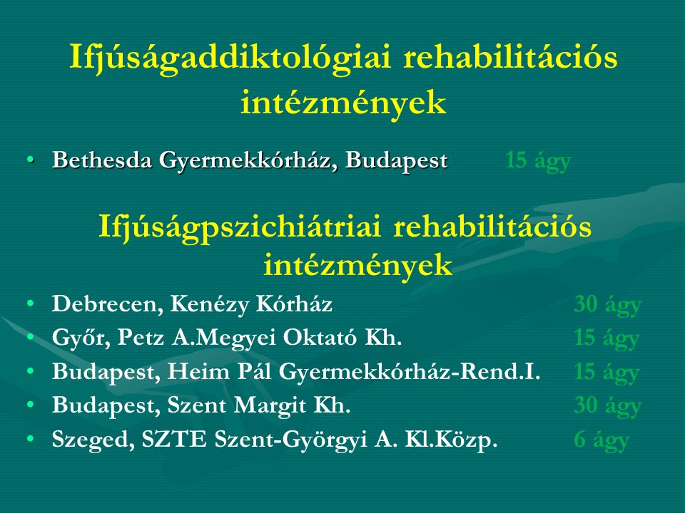 Ifjúságaddiktológiai rehabilitációs intézmények Bethesda Gyermekkórház, BudapestBethesda Gyermekkórház, Budapest 15 ágy Ifjúságpszichiátriai rehabilit