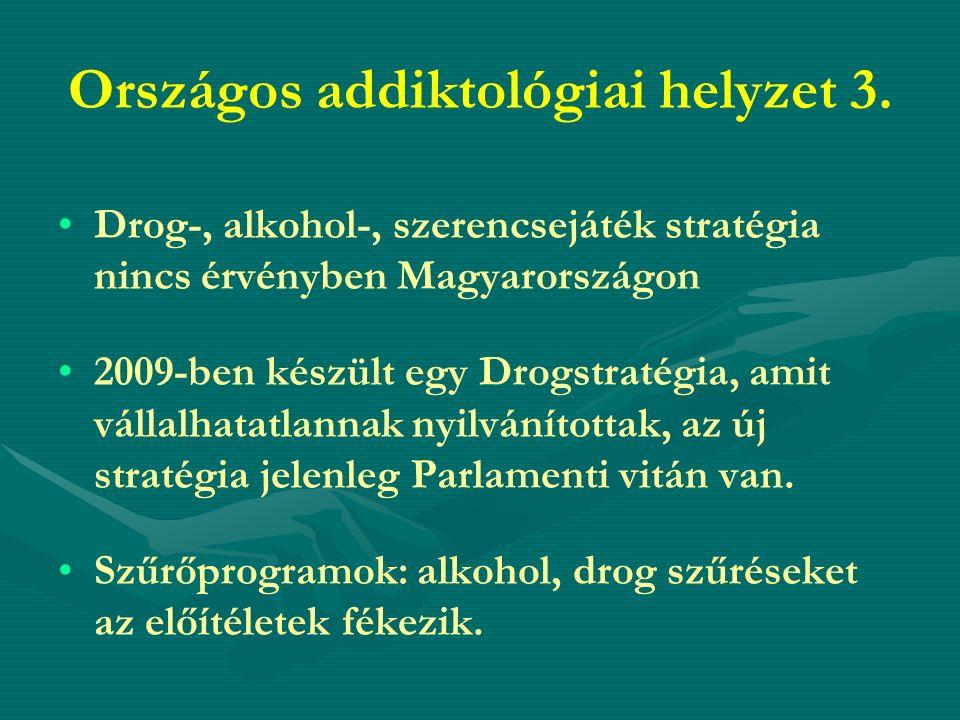 Országos addiktológiai helyzet 3. Drog-, alkohol-, szerencsejáték stratégia nincs érvényben Magyarországon 2009-ben készült egy Drogstratégia, amit vá