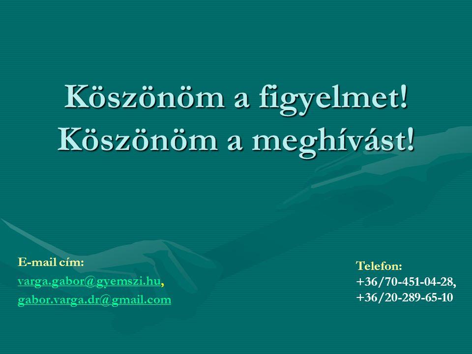 Köszönöm a figyelmet! Köszönöm a meghívást! E-mail cím: varga.gabor@gyemszi.huvarga.gabor@gyemszi.hu, gabor.varga.dr@gmail.com Telefon: +36/70-451-04-