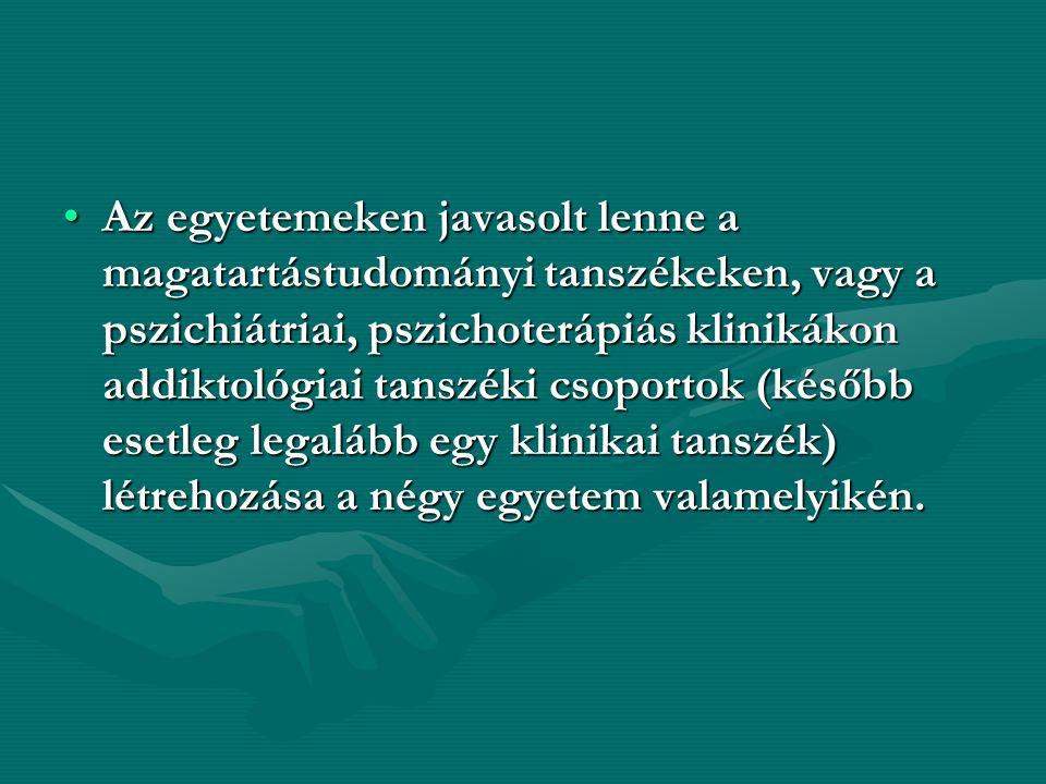 Az egyetemeken javasolt lenne a magatartástudományi tanszékeken, vagy a pszichiátriai, pszichoterápiás klinikákon addiktológiai tanszéki csoportok (később esetleg legalább egy klinikai tanszék) létrehozása a négy egyetem valamelyikén.Az egyetemeken javasolt lenne a magatartástudományi tanszékeken, vagy a pszichiátriai, pszichoterápiás klinikákon addiktológiai tanszéki csoportok (később esetleg legalább egy klinikai tanszék) létrehozása a négy egyetem valamelyikén.