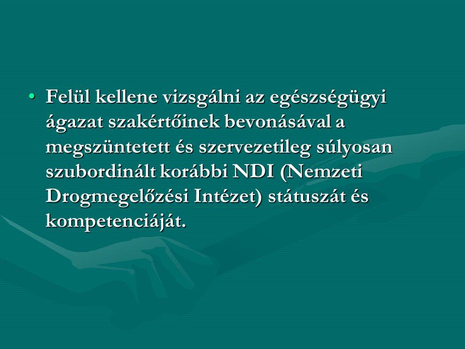 Felül kellene vizsgálni az egészségügyi ágazat szakértőinek bevonásával a megszüntetett és szervezetileg súlyosan szubordinált korábbi NDI (Nemzeti Drogmegelőzési Intézet) státuszát és kompetenciáját.Felül kellene vizsgálni az egészségügyi ágazat szakértőinek bevonásával a megszüntetett és szervezetileg súlyosan szubordinált korábbi NDI (Nemzeti Drogmegelőzési Intézet) státuszát és kompetenciáját.