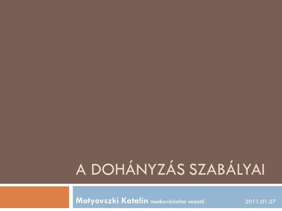 A DOHÁNYZÁS SZABÁLYAI Motyovszki Katalin munkavédelmi vezető2011.01.27