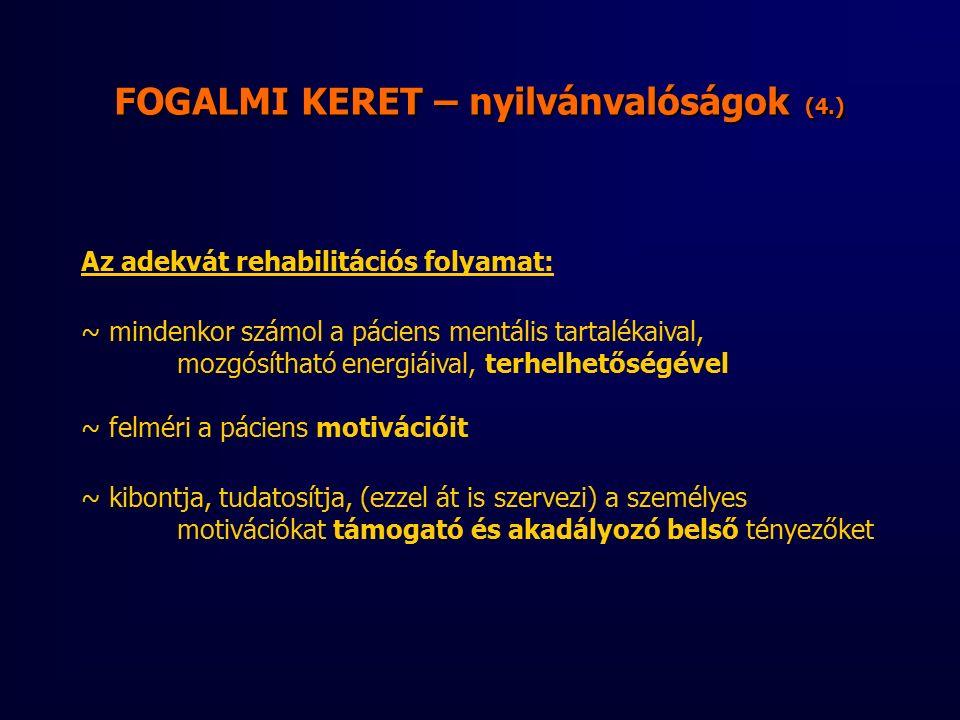 FOGALMI KERET – nyilvánvalóságok (4.) Az adekvát rehabilitációs folyamat: ~ mindenkor számol a páciens mentális tartalékaival, mozgósítható energiáival, terhelhetőségével ~ felméri a páciens motivációit ~ kibontja, tudatosítja, (ezzel át is szervezi) a személyes motivációkat támogató és akadályozó belső tényezőket