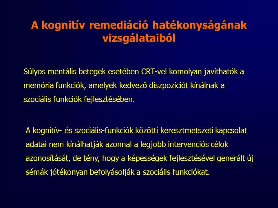 Súlyos mentális betegek esetében CRT-vel komolyan javíthatók a memória funkciók, amelyek kedvező diszpozíciót kínálnak a szociális funkciók fejlesztésében.