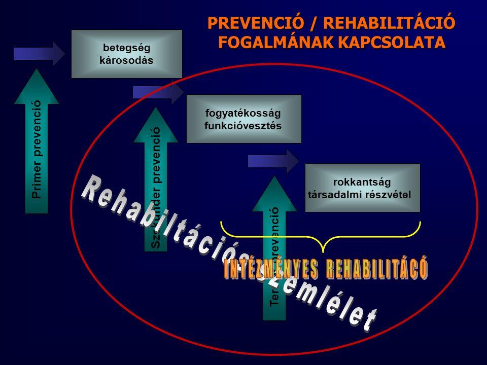 rokkantság társadalmi részvétel fogyatékosság funkcióvesztés betegség károsodás Primer prevenció Szekunder prevenció Tercier prevenció PREVENCIÓ / REHABILITÁCIÓ FOGALMÁNAK KAPCSOLATA