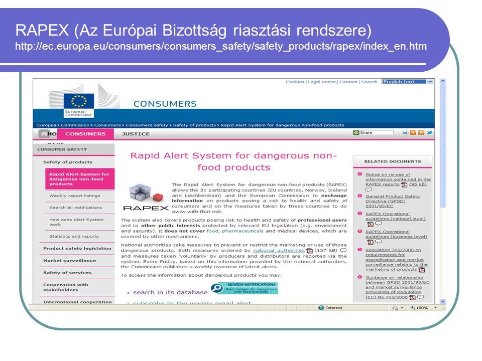 RAPEX (Az Európai Bizottság riasztási rendszere) http://ec.europa.eu/consumers/consumers_safety/safety_products/rapex/index_en.htm
