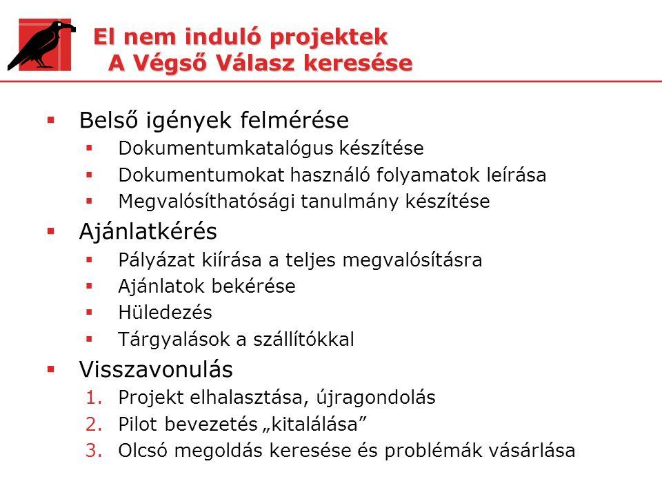 El nem induló projektek A Végső Válasz keresése  Belső igények felmérése  Dokumentumkatalógus készítése  Dokumentumokat használó folyamatok leírása
