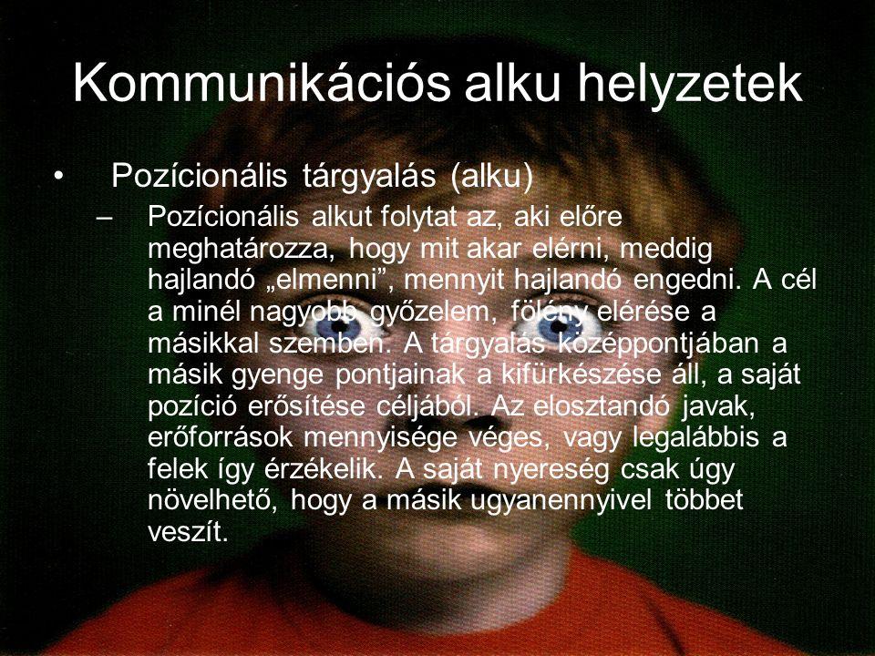 """Kommunikációs alku helyzetek Pozícionális tárgyalás (alku) –Pozícionális alkut folytat az, aki előre meghatározza, hogy mit akar elérni, meddig hajlandó """"elmenni , mennyit hajlandó engedni."""