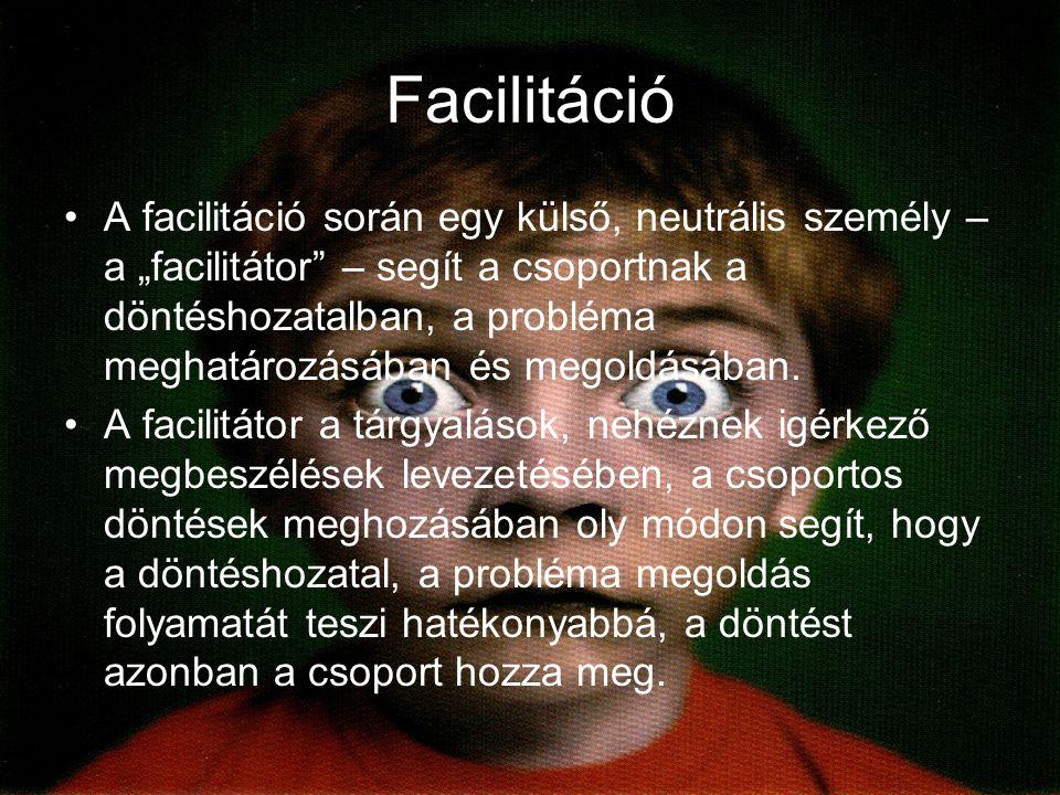 """Facilitáció A facilitáció során egy külső, neutrális személy – a """"facilitátor – segít a csoportnak a döntéshozatalban, a probléma meghatározásában és megoldásában."""