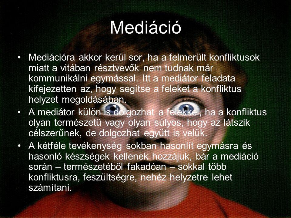 Mediáció Mediációra akkor kerül sor, ha a felmerült konfliktusok miatt a vitában résztvevők nem tudnak már kommunikálni egymással.