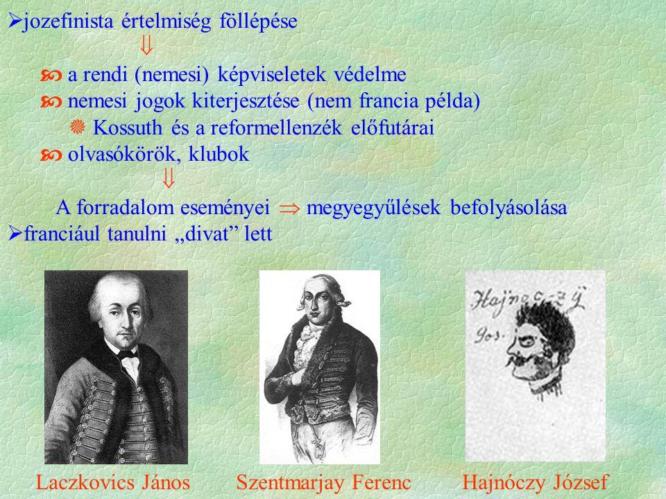 """ jozefinista értelmiség föllépése   a rendi (nemesi) képviseletek védelme  nemesi jogok kiterjesztése (nem francia példa)  Kossuth és a reformellenzék előfutárai  olvasókörök, klubok  A forradalom eseményei  megyegyűlések befolyásolása  franciául tanulni """"divat lett Laczkovics János Szentmarjay Ferenc Hajnóczy József"""