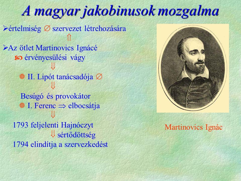 A magyar jakobinusok mozgalma  értelmiség  szervezet létrehozására   Az ötlet Martinovics Ignácé  érvényesülési vágy   II.