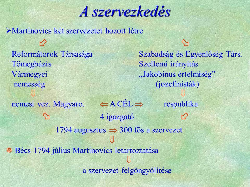  Martinovics két szervezetet hozott létre   Reformátorok Társasága Szabadság és Egyenlőség Társ.