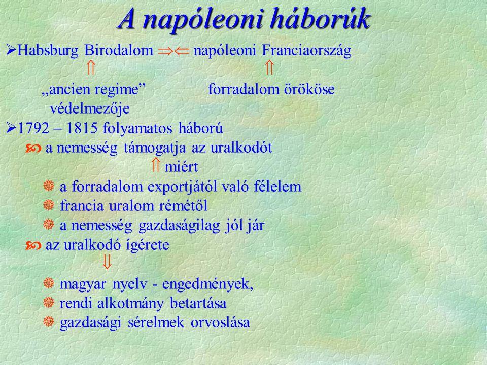 """ Habsburg Birodalom  napóleoni Franciaország  """"ancien regime forradalom örököse védelmezője  1792 – 1815 folyamatos háború  a nemesség támogatja az uralkodót  miért  a forradalom exportjától való félelem  francia uralom rémétől  a nemesség gazdaságilag jól jár  az uralkodó ígérete   magyar nyelv - engedmények,  rendi alkotmány betartása  gazdasági sérelmek orvoslása A napóleoni háborúk"""