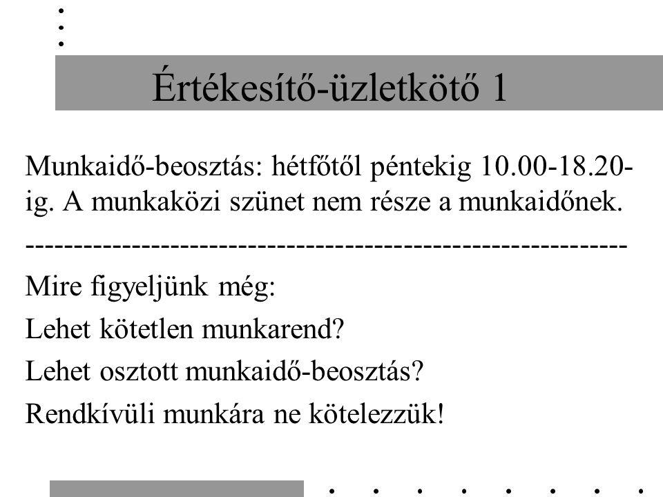 Értékesítő-üzletkötő 1 Munkaidő-beosztás: hétfőtől péntekig 10.00-18.20- ig.
