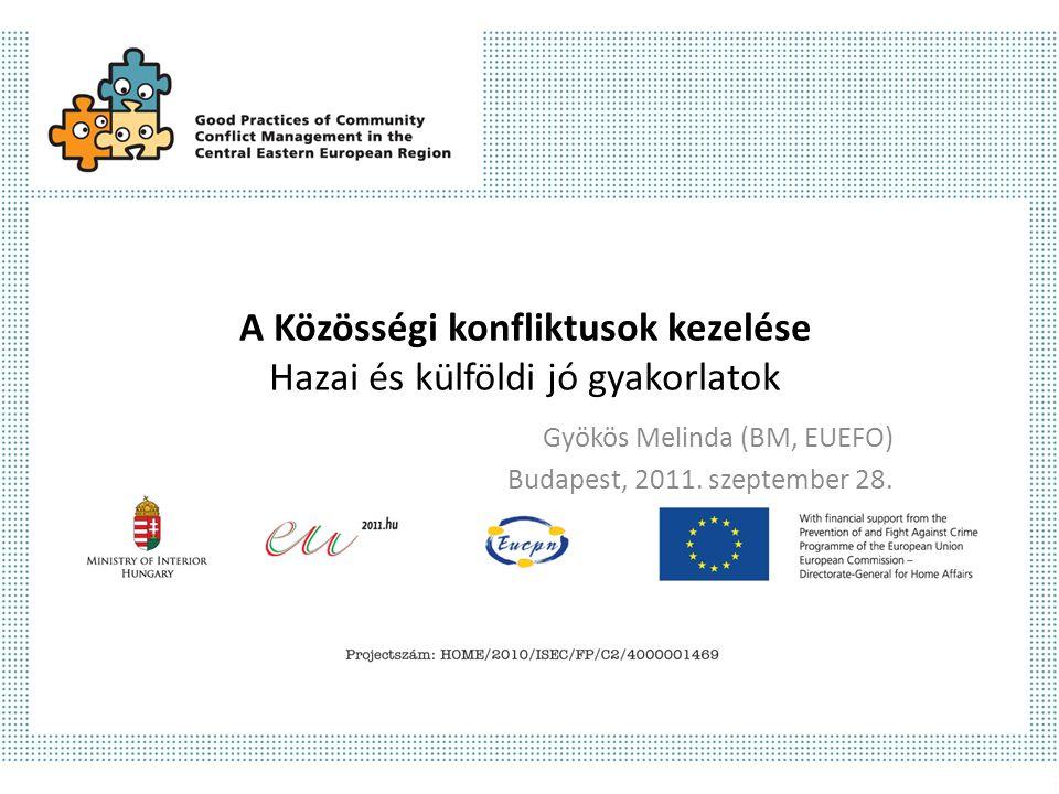 A Közösségi konfliktusok kezelése Hazai és külföldi jó gyakorlatok Gyökös Melinda (BM, EUEFO) Budapest, 2011.