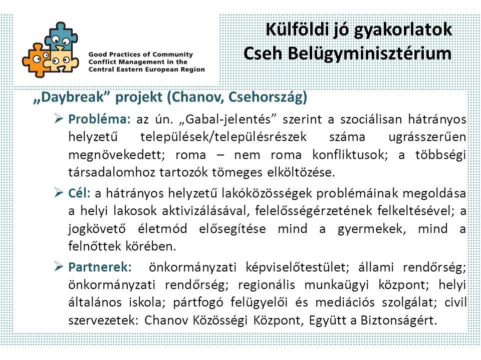 """Külföldi jó gyakorlatok Cseh Belügyminisztérium """" Daybreak projekt (Chanov, Csehország)  Probléma: az ún."""