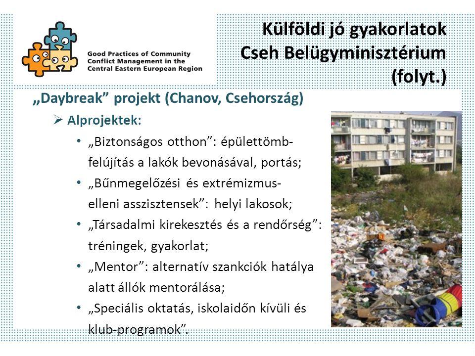 """Külföldi jó gyakorlatok Cseh Belügyminisztérium (folyt.) """" Daybreak projekt (Chanov, Csehország)  Alprojektek: """"Biztonságos otthon : épülettömb- felújítás a lakók bevonásával, portás; """"Bűnmegelőzési és extrémizmus- elleni asszisztensek : helyi lakosok; """"Társadalmi kirekesztés és a rendőrség : tréningek, gyakorlat; """"Mentor : alternatív szankciók hatálya alatt állók mentorálása; """"Speciális oktatás, iskolaidőn kívüli és klub-programok ."""
