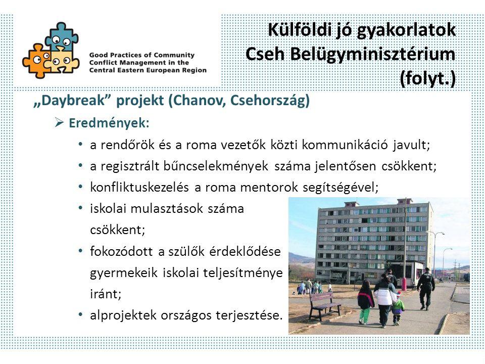 """Külföldi jó gyakorlatok Cseh Belügyminisztérium (folyt.) """" Daybreak projekt (Chanov, Csehország)  Eredmények: a rendőrök és a roma vezetők közti kommunikáció javult; a regisztrált bűncselekmények száma jelentősen csökkent; konfliktuskezelés a roma mentorok segítségével; iskolai mulasztások száma csökkent; fokozódott a szülők érdeklődése gyermekeik iskolai teljesítménye iránt; alprojektek országos terjesztése."""