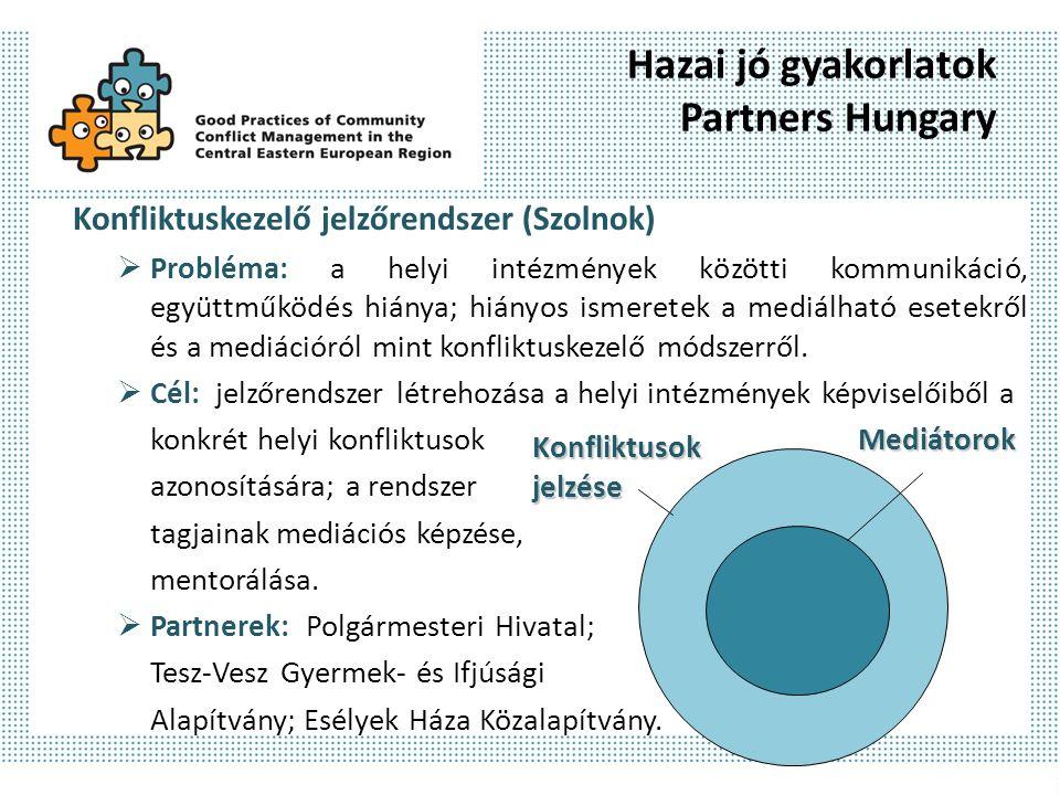 Hazai jó gyakorlatok Partners Hungary Konfliktuskezelő jelzőrendszer (Szolnok)  Probléma: a helyi intézmények közötti kommunikáció, együttműködés hiánya; hiányos ismeretek a mediálható esetekről és a mediációról mint konfliktuskezelő módszerről.