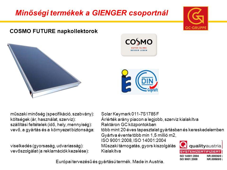 műszaki minőség (specifikáció, szabvány):Solar Keymark 011-7S1785 F költségek (ár, használat, szerviz):Ár/érték arány piacon a legjobb, szerviz kialakítva szállítási feltételek (idő, hely, mennyiség):Raktáron GC központokban vevő, a gyártás és a környezet biztonsága:több mint 20 éves tapasztalat gyártásban és kereskedelemben Gyártva évente több min 1,5 millió m2, ISO 9001:2008, ISO 14001:2004 viselkedés (gyorsaság, udvariasság):Műszaki támogatás, gyors kiszolgálás vevőszolgálat (a reklamációk kezelése):Kialakítva Európai tervezésű és gyártású termék.
