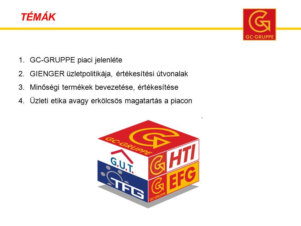 1.GC-GRUPPE piaci jelenléte 2.GIENGER üzletpolitikája, értékesítési útvonalak 3.Minőségi termékek bevezetése, értékesítése 4.Üzleti etika avagy erkölcsös magatartás a piacon TÉMÁK