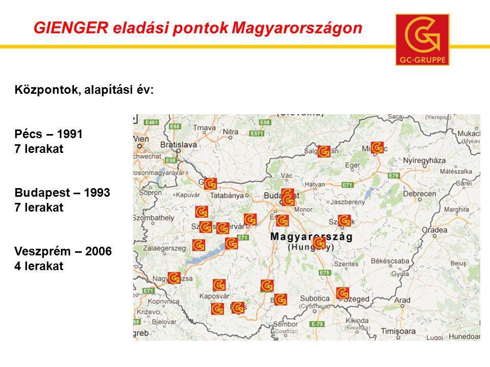 Központok, alapítási év: Pécs – 1991 7 lerakat Budapest – 1993 7 lerakat Veszprém – 2006 4 lerakat GIENGER eladási pontok Magyarországon