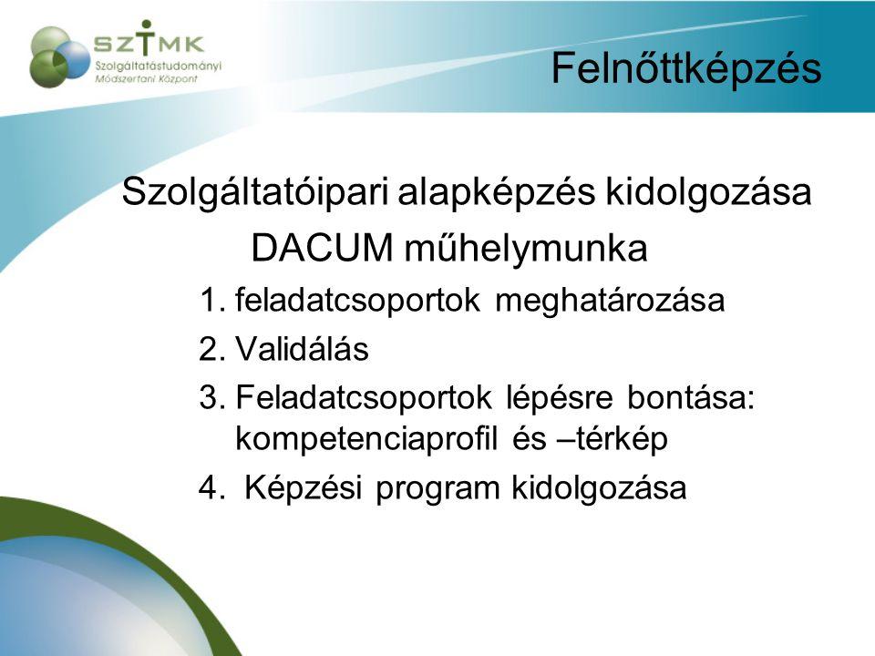 Felnőttképzés Szolgáltatóipari alapképzés kidolgozása DACUM műhelymunka 1.feladatcsoportok meghatározása 2.Validálás 3.Feladatcsoportok lépésre bontása: kompetenciaprofil és –térkép 4.