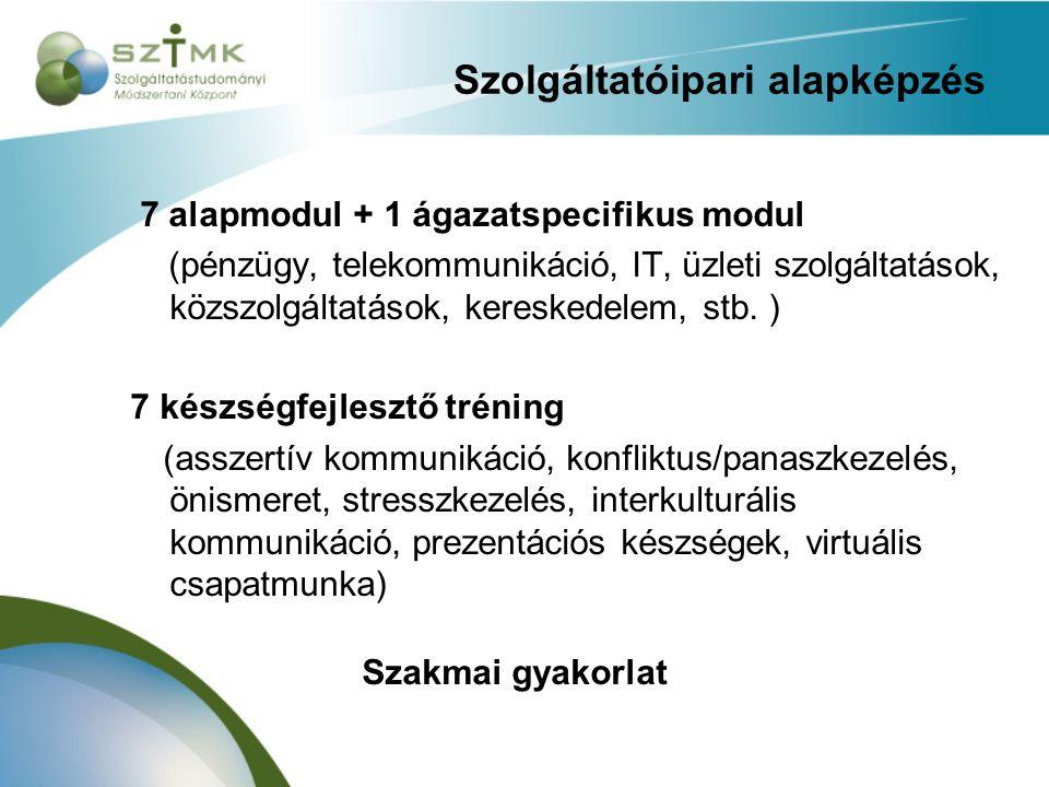 Szolgáltatóipari alapképzés 7 alapmodul + 1 ágazatspecifikus modul (pénzügy, telekommunikáció, IT, üzleti szolgáltatások, közszolgáltatások, kereskede
