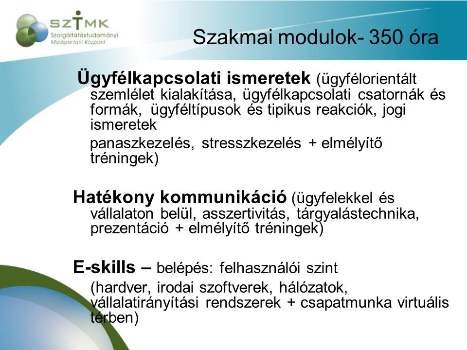Szakmai modulok- 350 óra Ügyfélkapcsolati ismeretek (ügyfélorientált szemlélet kialakítása, ügyfélkapcsolati csatornák és formák, ügyféltípusok és tip