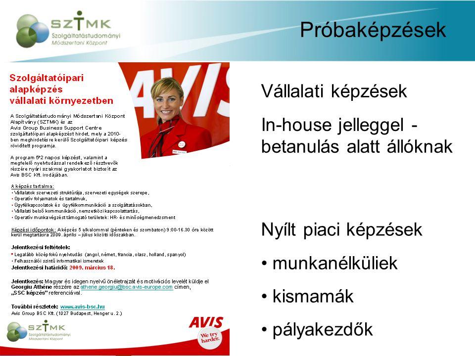 Próbaképzések Vállalati képzések In-house jelleggel - betanulás alatt állóknak Nyílt piaci képzések munkanélküliek kismamák pályakezdők
