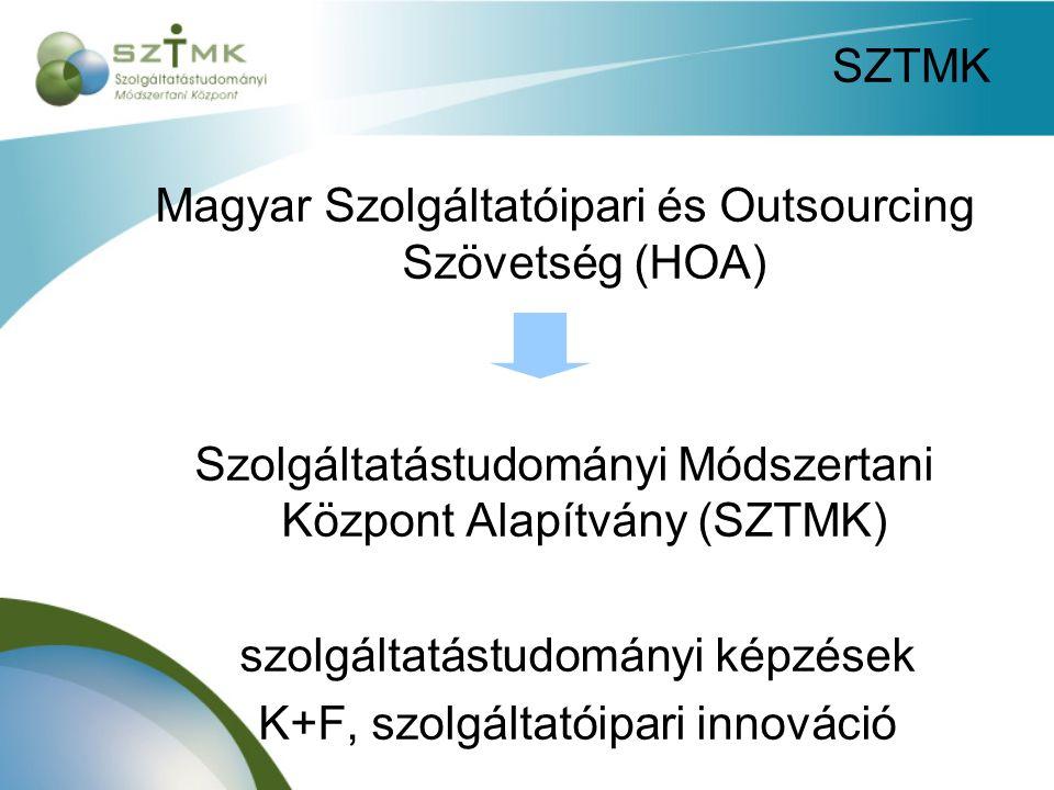 SZTMK Magyar Szolgáltatóipari és Outsourcing Szövetség (HOA) Szolgáltatástudományi Módszertani Központ Alapítvány (SZTMK) szolgáltatástudományi képzések K+F, szolgáltatóipari innováció