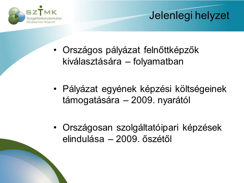 Jelenlegi helyzet Országos pályázat felnőttképzők kiválasztására – folyamatban Pályázat egyének képzési költségeinek támogatására – 2009.