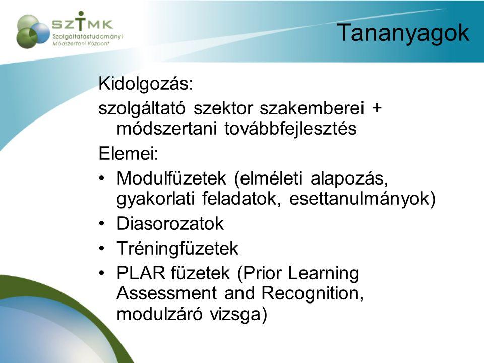 Tananyagok Kidolgozás: szolgáltató szektor szakemberei + módszertani továbbfejlesztés Elemei: Modulfüzetek (elméleti alapozás, gyakorlati feladatok, esettanulmányok) Diasorozatok Tréningfüzetek PLAR füzetek (Prior Learning Assessment and Recognition, modulzáró vizsga)