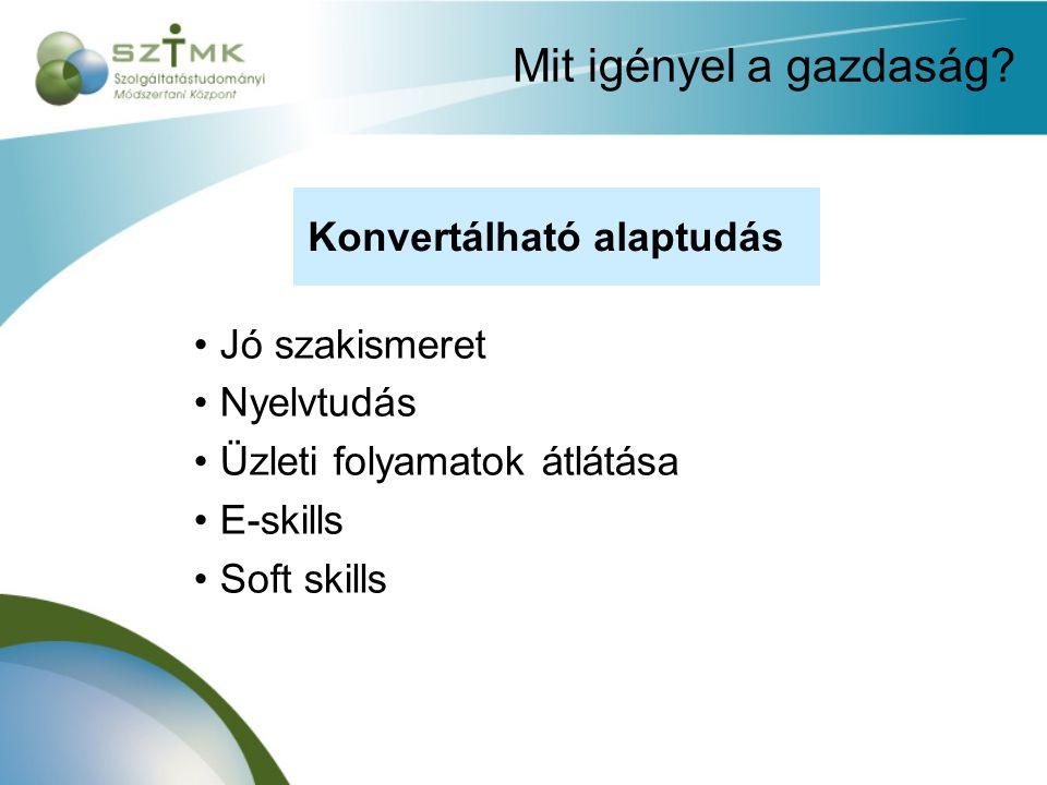 Mit igényel a gazdaság? Konvertálható tudás Jó szakismeret Nyelvtudás Üzleti folyamatok átlátása E-skills Soft skills Konvertálható alaptudás