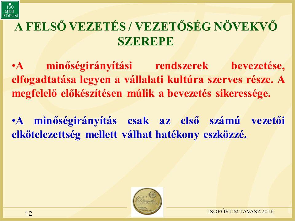 12 A FELSŐ VEZETÉS / VEZETŐSÉG NÖVEKVŐ SZEREPE A minőségirányítási rendszerek bevezetése, elfogadtatása legyen a vállalati kultúra szerves része.