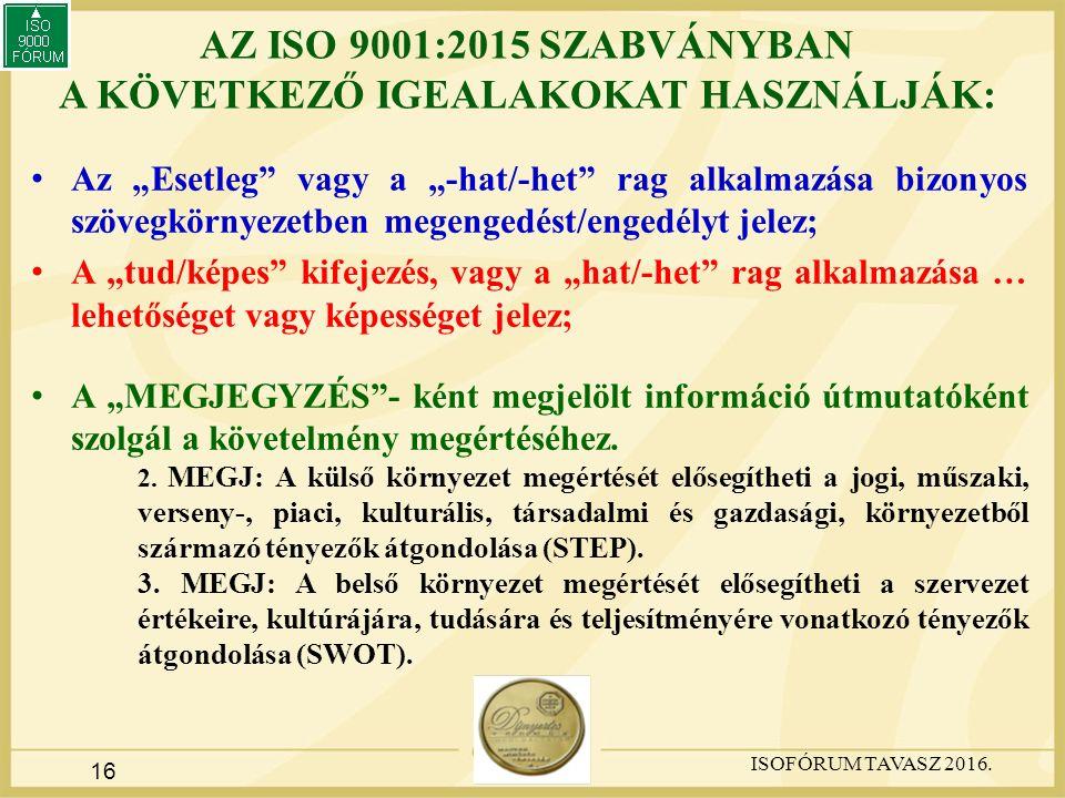 """16 AZ ISO 9001:2015 SZABVÁNYBAN A KÖVETKEZŐ IGEALAKOKAT HASZNÁLJÁK: Az """"Esetleg vagy a """"-hat/-het rag alkalmazása bizonyos szövegkörnyezetben megengedést/engedélyt jelez; A """"tud/képes kifejezés, vagy a """"hat/-het rag alkalmazása … lehetőséget vagy képességet jelez; A """"MEGJEGYZÉS - ként megjelölt információ útmutatóként szolgál a követelmény megértéséhez."""