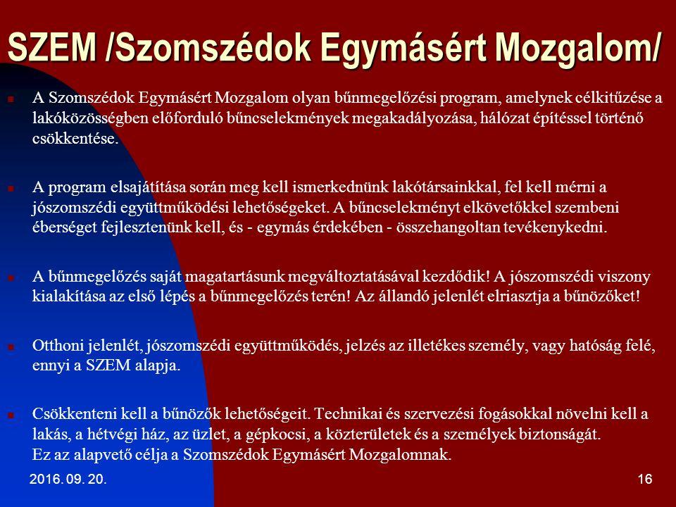 SZEM /Szomszédok Egymásért Mozgalom/ 2016. 09.