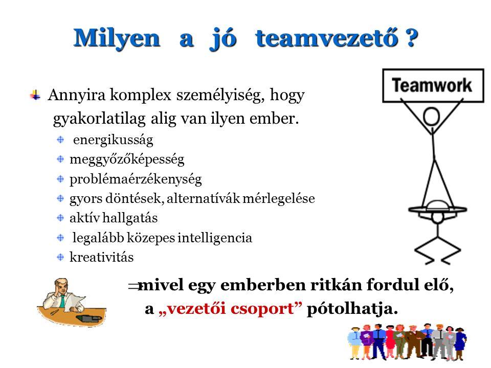 Milyen a jó teamvezető ? Annyira komplex személyiség, hogy gyakorlatilag alig van ilyen ember. energikusság meggyőzőképesség problémaérzékenység gyors