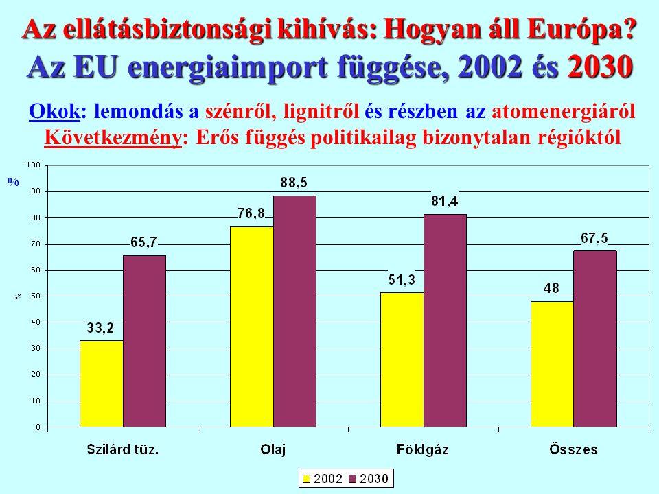 Közös EU energiapolitikai célok Versenyképesség Lisszabon Környezet Ellátás- Kiotó biztonság Versenyképesség: belső piac, verseny, hálózati kapcsolatok, európai villamosenergia hálózatok, K+F (tiszta-szén, CO 2 elnyeletés, alternatív tüzelőanyagok, energia hatékonyság, nukleáris energia) Környezetvédelem: megújuló energia, energiahatékonyság, nukleáris energia, innováció & kutatás, emisszió kereskedelem Ellátásbiztonság: nemzetközi párbeszéd, európai készlet- gazdálkodás (olaj-gáz), finomító kapacitás és energia tárolás Fenn- tarthatóság