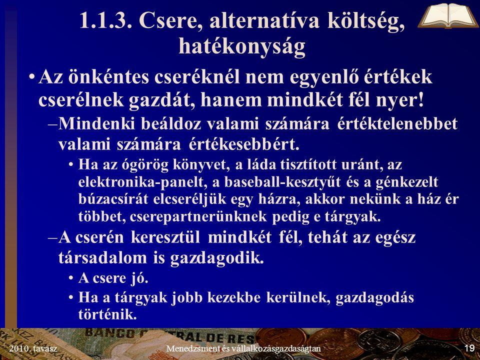 2010. tavasz19Menedzsment és vállalkozásgazdaságtan 1.1.3.