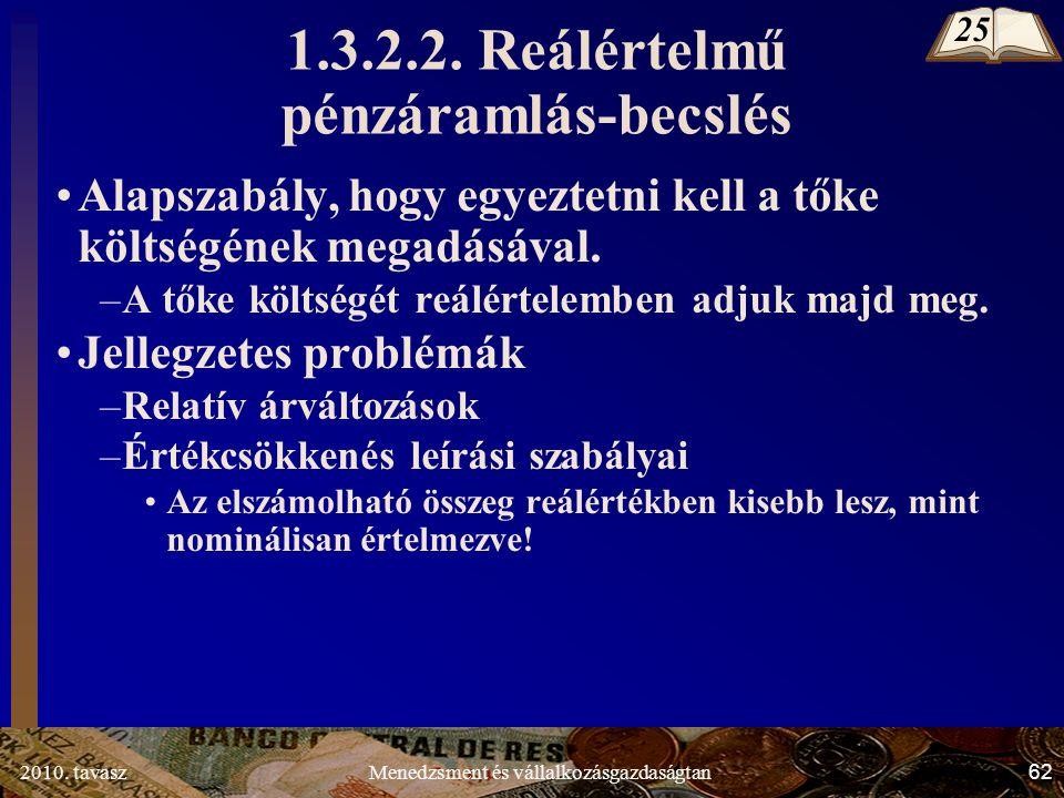 2010. tavasz62Menedzsment és vállalkozásgazdaságtan 1.3.2.2.