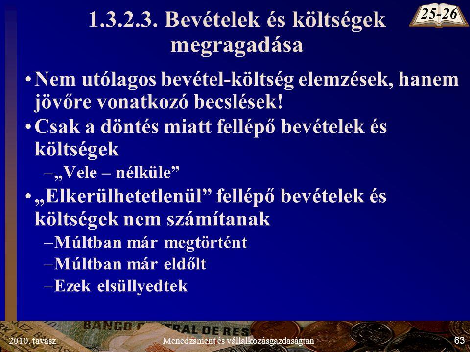 2010. tavasz63Menedzsment és vállalkozásgazdaságtan 1.3.2.3.
